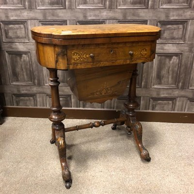 Lot 804-A VICTORIAN  WALNUT OBLONG NEEDLEWORK/GAMES TABLE