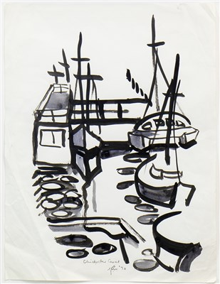 Lot 523-CHICHESTER CANAL, AN INK AND WASH BY GEORGE WYLLIE