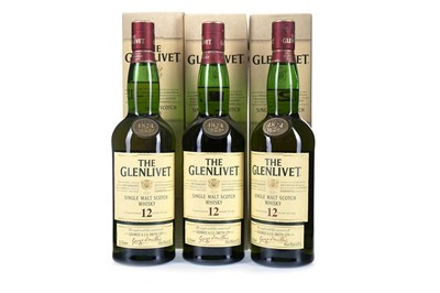 Lot 316-THREE BOTTLES OF GLENLIVET 12 YEARS OLD