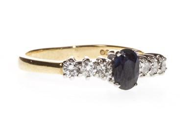 Lot 74-BLUE GEM AND DIAMOND RING