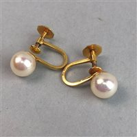 Lot 372-A PAIR OF WHITE BEAD SCREW BACK EARRINGS