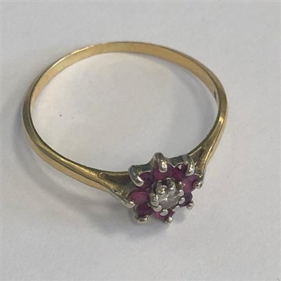 Lot 374-A RED AND WHITE GEM SET FLOWER CLUSTER RING