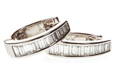 Lot 67-A PAIR OF DIAMOND SET HOOP EARRINGS