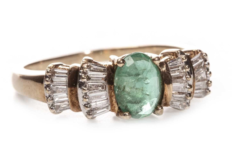 Lot 54 - GREEN GEM SET AND DIAMOND RING