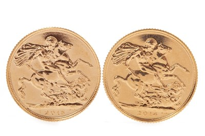 Lot 533-TWO GOLD SOVEREIGNS, 2014 AND 2015