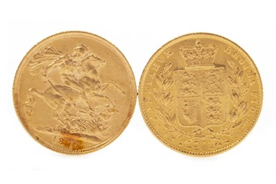 Lot 532-TWO GOLD SOVEREIGNS, 1865 AND 1876