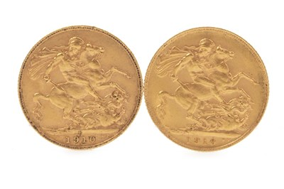 Lot 537-TWO GOLD SOVEREIGNS, 1910