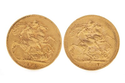 Lot 539-TWO GOLD SOVEREIGNS, 1893 AND 1899
