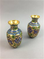 Lot 13-A PAIR OF CLOISONNÉ ENAMEL VASES AND SIX CHINESE BOWLS