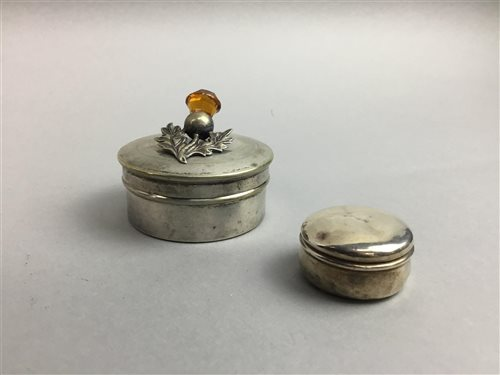 Lot 19-A SILVER PILL BOX, SPOONS, TRINKET BOX AND OTHER PLATED ITEMS