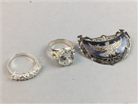 Lot 11-A LOT OF PASTE SET RINGS AND A GROUP OF BROOCHES
