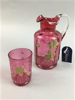 Lot 22-A CRANBERRY GLASS JUG AND TUMBLER AND OTHER GLASS WARE