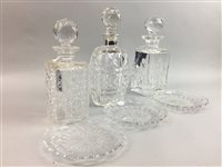 Lot 26-A SILVER MOUNTED CRYSTAL DECANTER, PLATES AND TWO OTHER DECANTERS