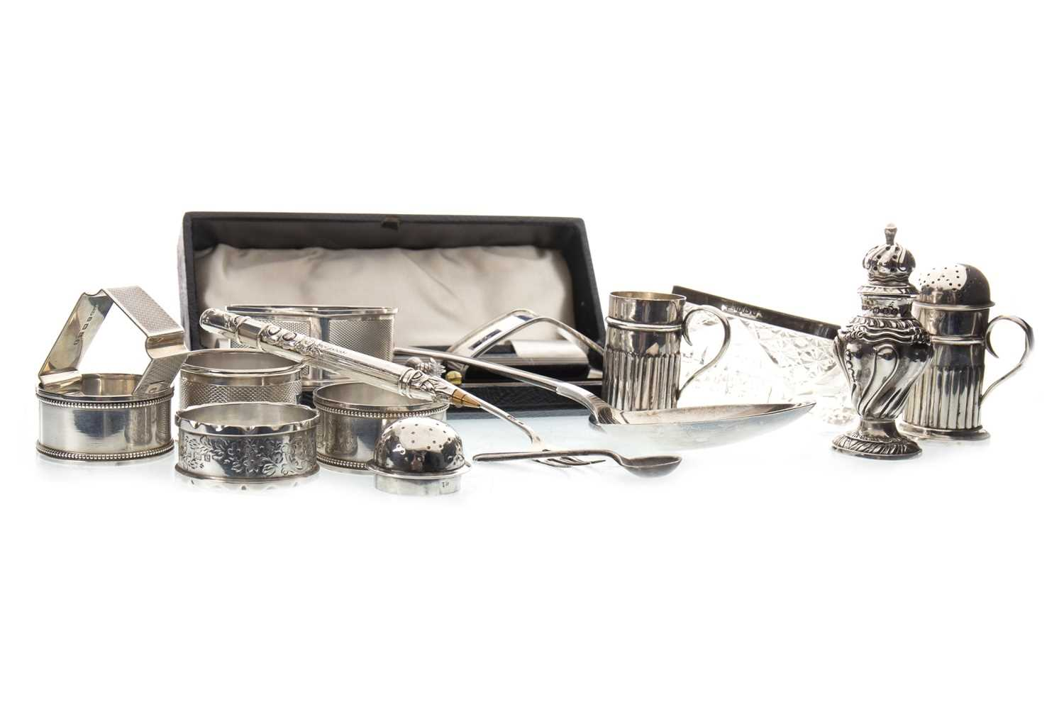 Lot 826-A PAIR OF SILVER SALT AND PEPPER SHAKERS AND OTHER SMALL SILVER ITEMS
