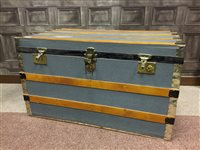 Lot 28-A BRASS AND CLOTH BOUND WOODEN TRUNK