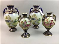 Lot 30-A PAIR OF NORITAKE VASES AND ANOTHER PAIR OF VASES