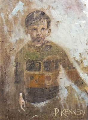 Lot 445-STUDY OF A BOY, A MIXED MEDIA BY PAUL KENNEDY