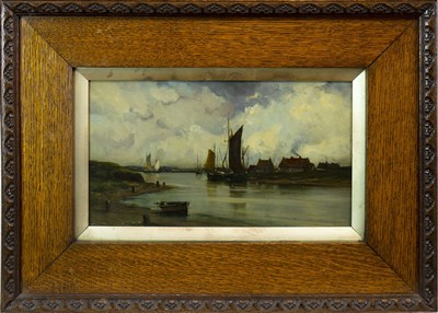 Lot 620-CANAL SCENE, AN OIL BY VAN HELST