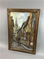 Lot 37-LA RUE, AN OIL BY J HURATO
