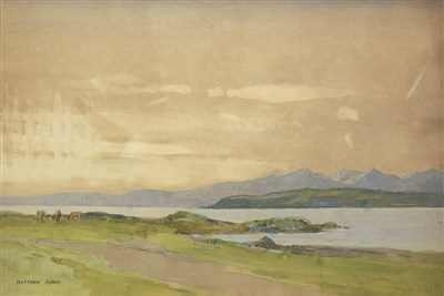 Lot 621-COASTAL VIEW, A WATERCOLOUR BY MATTHEW ADAM
