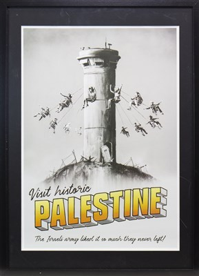 Lot 531-WALLED OFF - VISIT PALESTINE, AN ORIGINAL POSTER BY BANKSY