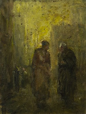 Lot 432-FIGURES IN A STREET, AN OIL BY SHOLTO JOHNSTONE DOUGLAS