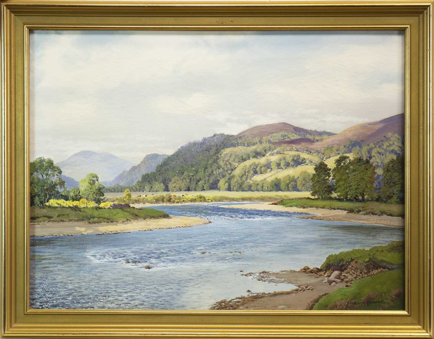 Lot 433-ON THE SPEY, NEAR CRAIGELLACHIE, AN OIL BY GEORGE MELVIN RENNIE
