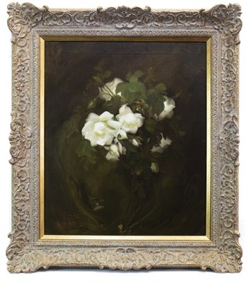 Lot 447 - WHITE ROSES, AN OIL BY JAMES STUART PARK