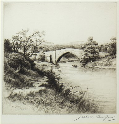 Lot 626-BRIG O' BALGOWNIE, RIVER DON, AN ETCHING BY HENRY JACKSON SIMPSON