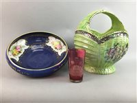 Lot 52-A MASONIC CRANBERRY GLASS TUMBLER AND OTHER CERAMICS AND GLASS
