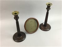 Lot 57-A PAIR OF OAK CANDLESTICKS, PHOTO FRAME AND A FIRE SCREEN
