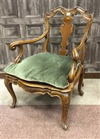 Lot 818-A PAIR OF CONTINENTAL DRAWING ROOM ARMCHAIRS