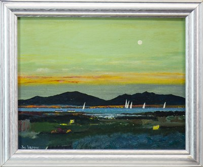 Lot 627-EVENING TOWARDS THE ARRAN HILLS, AN OIL BY JAS HARDIE