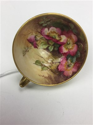 Lot 1078-A ROYAL WORCESTER CUP AND SAUCER BY W H AUSTIN