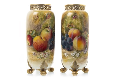 Lot 1082-A PAIR OF ROYAL WORCESTER VASES BY WILLIAM RICKETTS