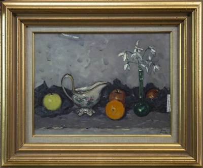 Lot 628-SNOWDROPS AND FRUIT, AN OIL BY JOHN MULLEN