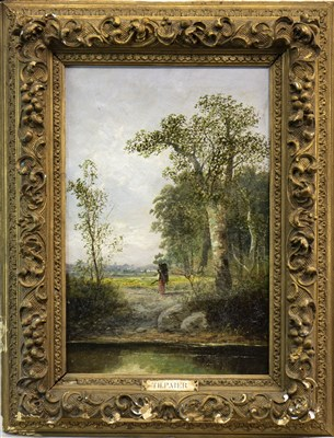 Lot 632-RURAL SCENE WITH FIGURE, AN OIL BY TH PAIER