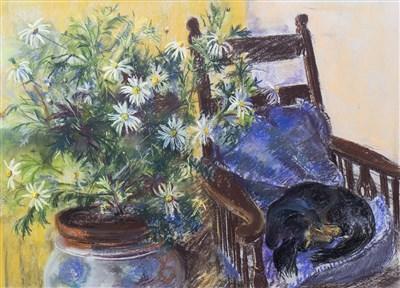 Lot 544-DAISIES AND POPPY, A PASTEL BY RO HENDERSON