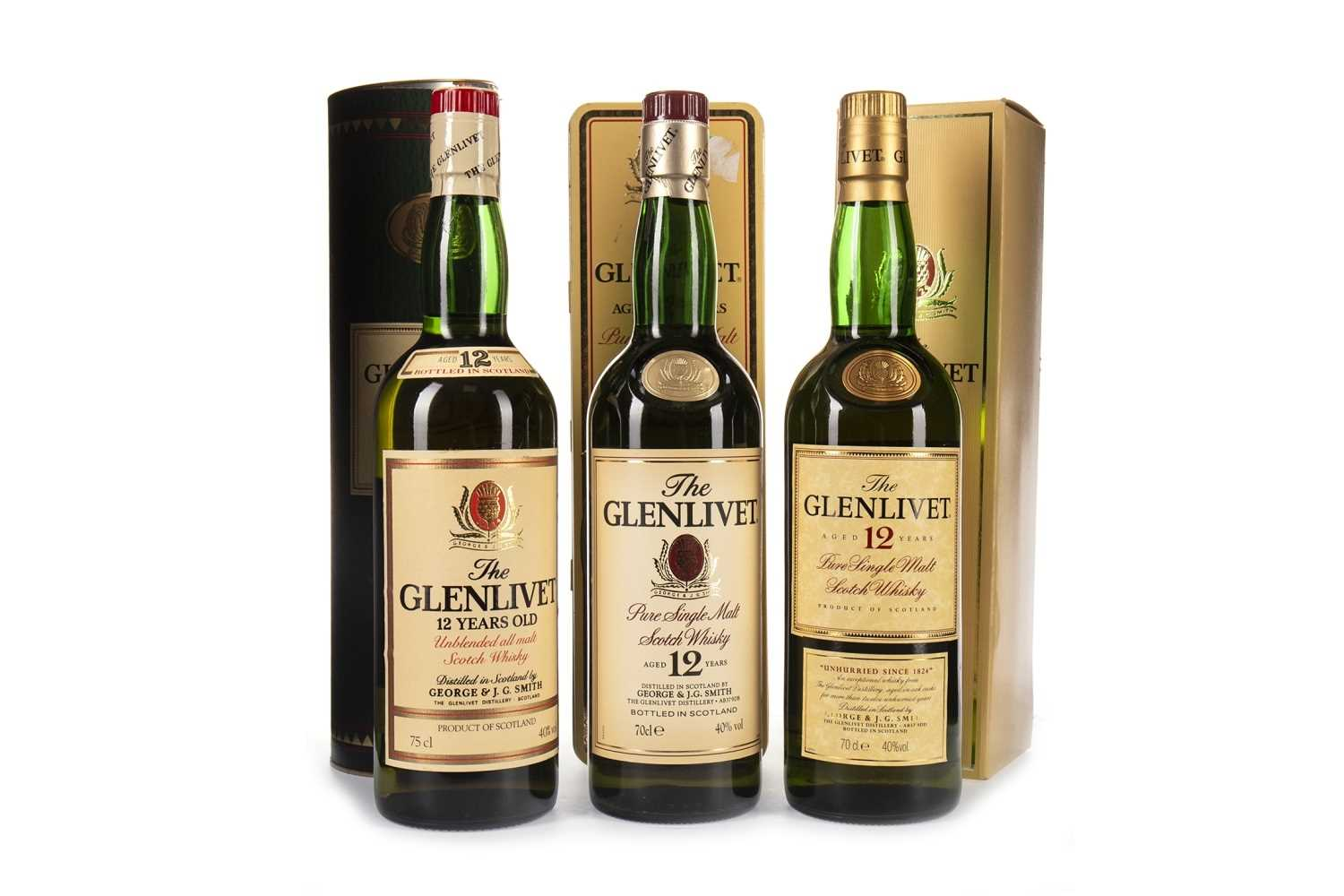 Lot 324-THREE BOTTLES OF GLENLIVET AGED 12 YEARS