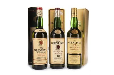 Lot 324-THREE BOTTLES OF GLENLIVET AGED 12 YEARS