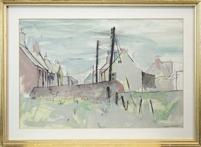 Lot 635-VILLAGE SCENE, A CHARCOAL AND WATERCOLOUR BY SUSAN WINTON
