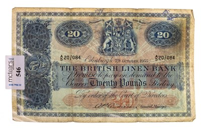 Lot 626-A BRITISH LINEN BANK £20 NOTE 1955