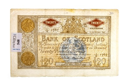 Lot 548-A BANK OF SCOTLAND £20 NOTE 1960