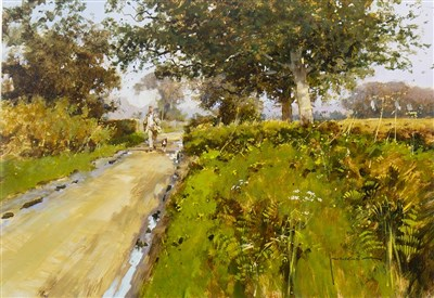 Lot 567-COUNTRY PATH, AN ACRYLIC BY JOHN HASKINS