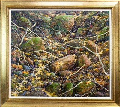 Lot 568-DRY BURN, AN OIL BY JOHN BATHGATE