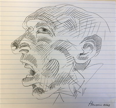 Lot 30-PEN STUDY OF A MAN, AN INK STUDY BY PETER HOWSON