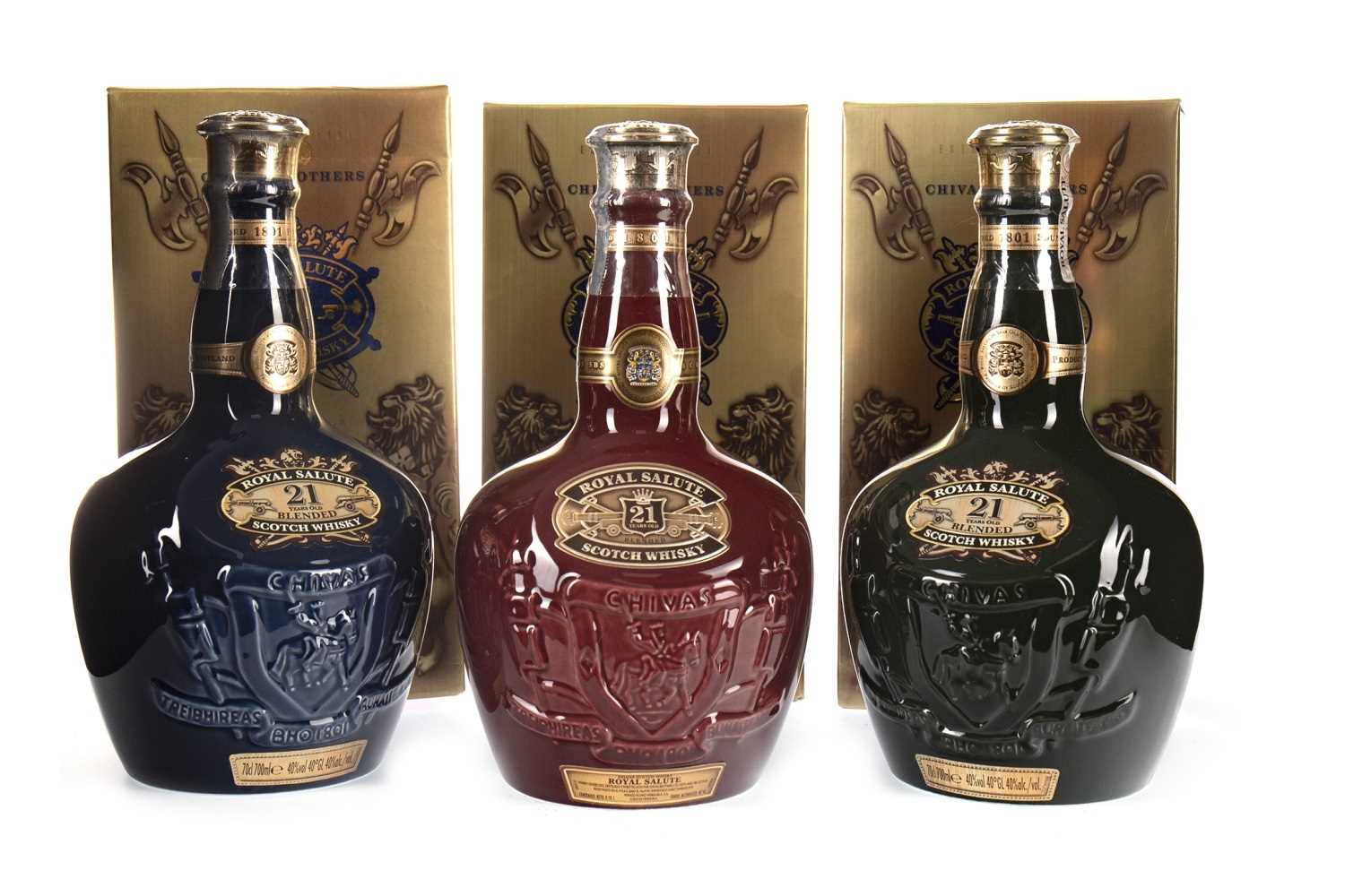 Lot 416-CHIVAS REGAL ROYAL SALUTE 21 YEARS OLD RUBY, EMERALD & SAPPHIRE FLAGONS
