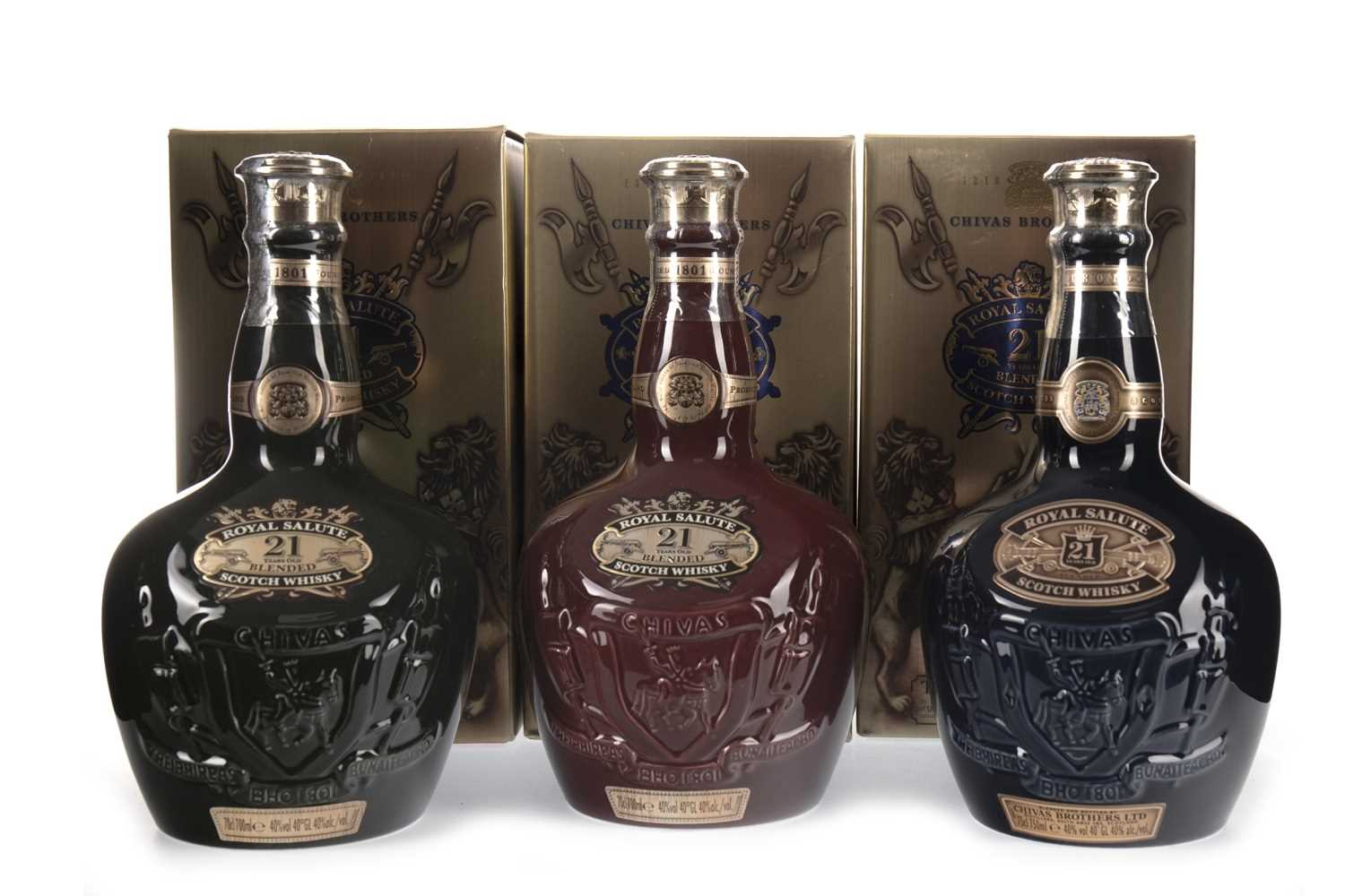 Lot 425-CHIVAS REGAL ROYAL SALUTE 21 YEARS OLD RUBY, EMERALD & SAPPHIRE FLAGONS