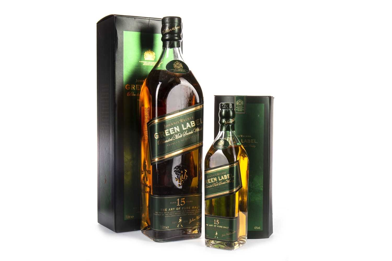 Lot 420-JOHNNIE WALKER GREEN LABEL AGED 15 YEARS ONE LITRE & 20CL