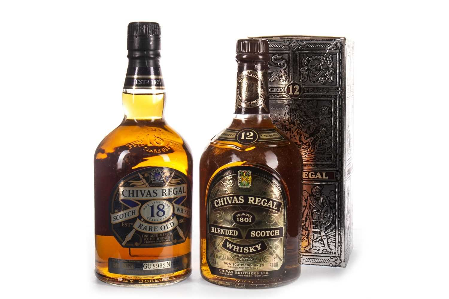 Lot 423-CHIVAS REGAL RARE OLD 18 YEARS OLD & CHIVAS REGAL 12 YEARS OLD